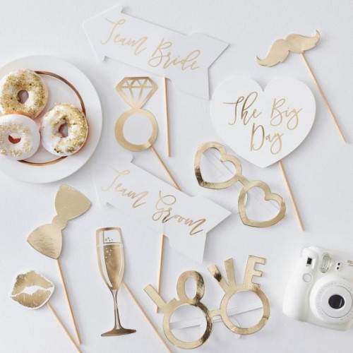 accessoires photobooth mariage or modern confetti