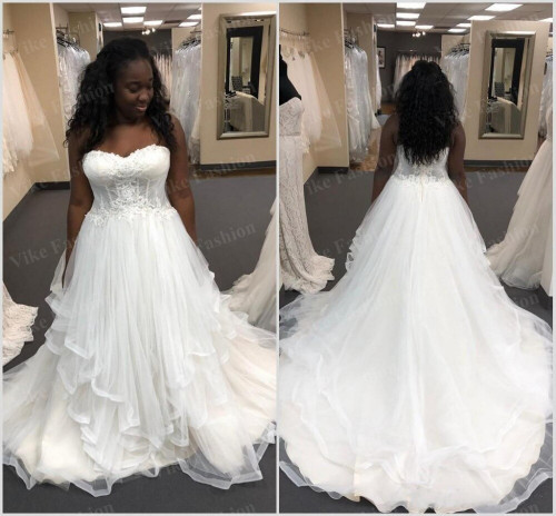 newest plus size african wedding dresses black girls sweetheart lace ruffles tieres bridal gowns bea