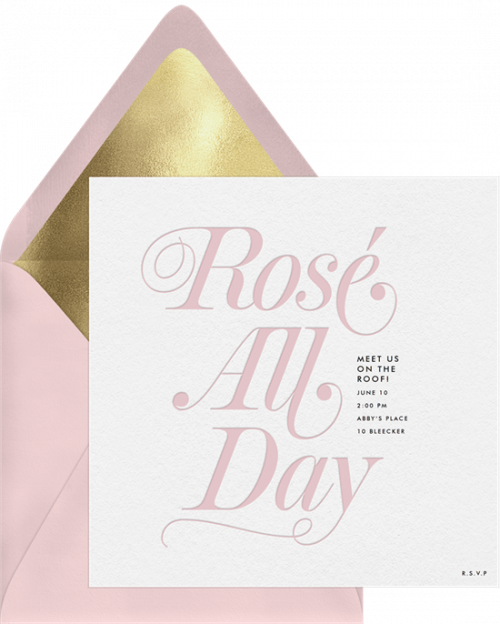rosé all day invitations in pink greenvelope