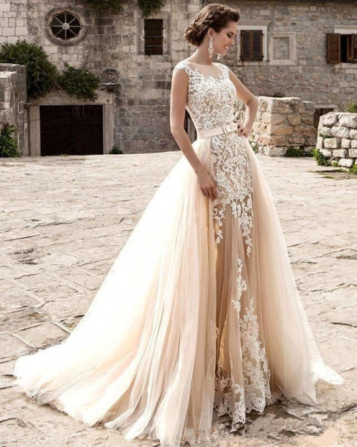 champagne lace mermaid wedding dresses 2021 tulle applique over skirts bow sash wedding bridal gowns