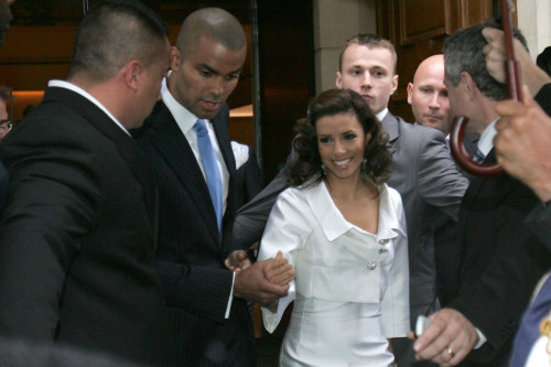 NBA French star Tony Parker and American actress Eva Longoria go out from their Paris hotel on their